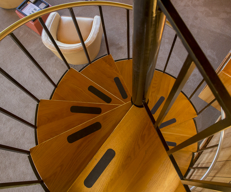 Circular staircase as seem from above.