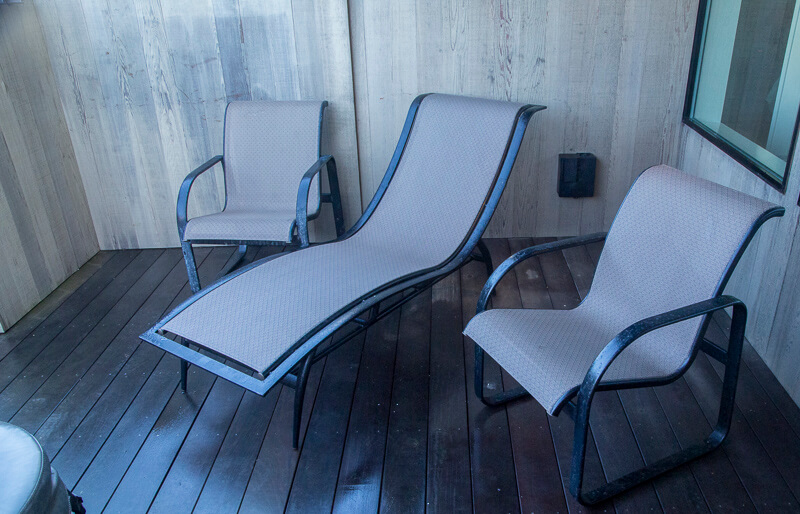 three chairs in hot tub area