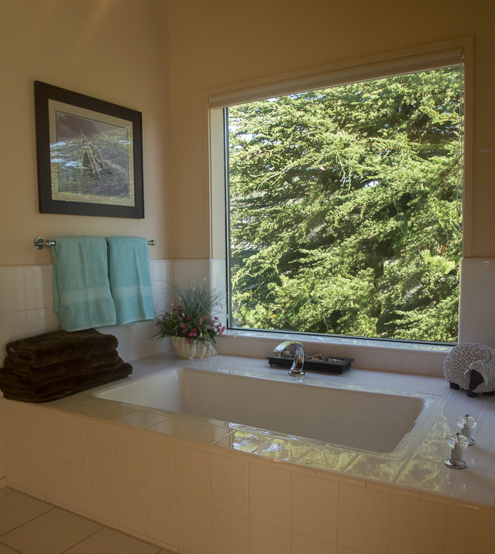 Bathroom showing tub and view of garden.