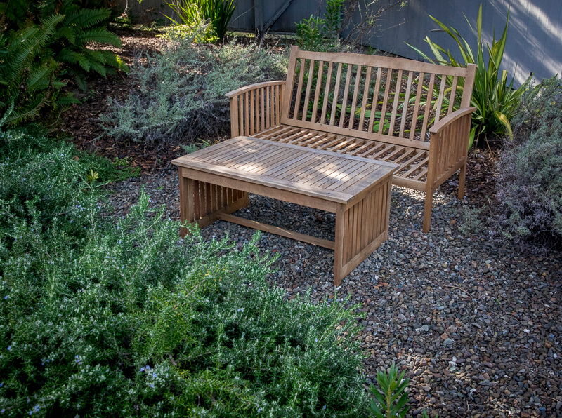 bench and table in garden
