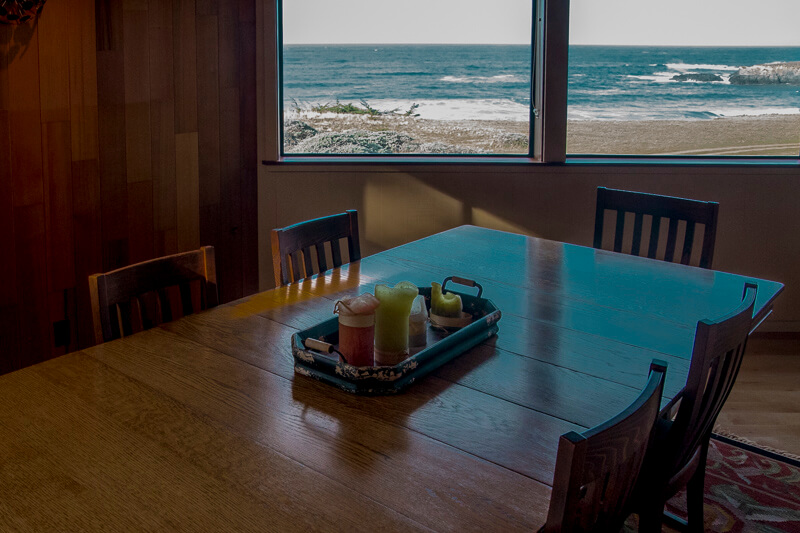 view of ocean from dining room