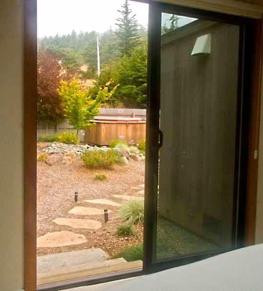 Hot tub as seen from bedroom.