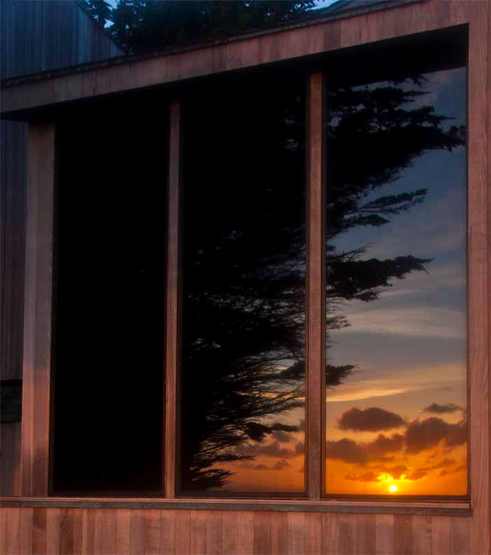 sunset view reflected in window