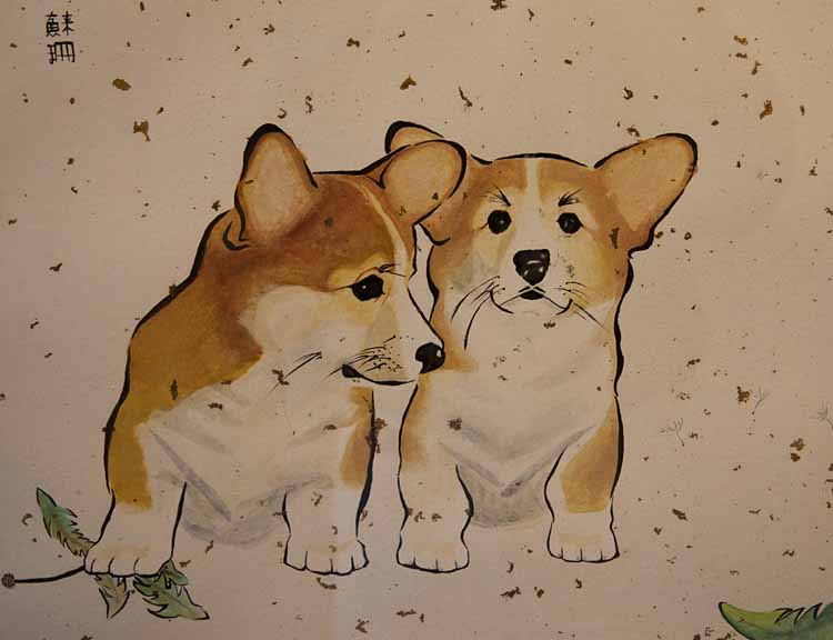 painting of two dogs