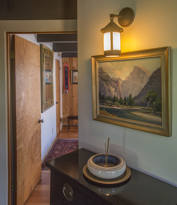 Hallway with cabinet and bowl.