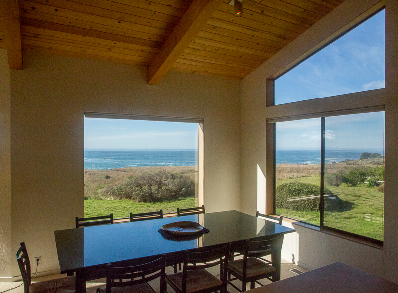 dining room with view of ocean