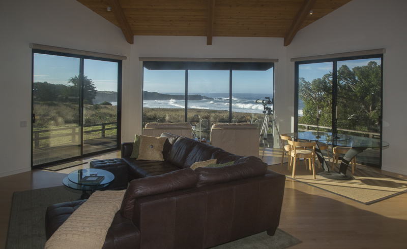 living room with view of ocean