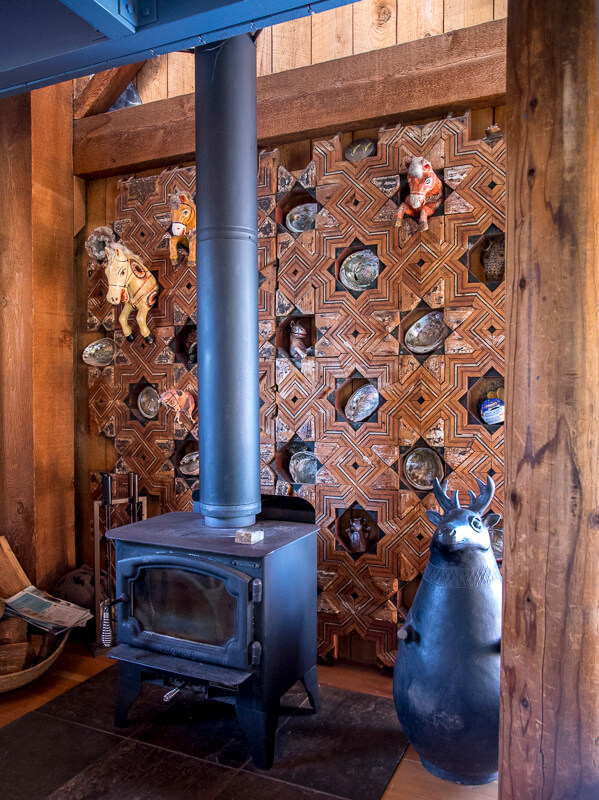 Wood Stove and Decorated Wall.