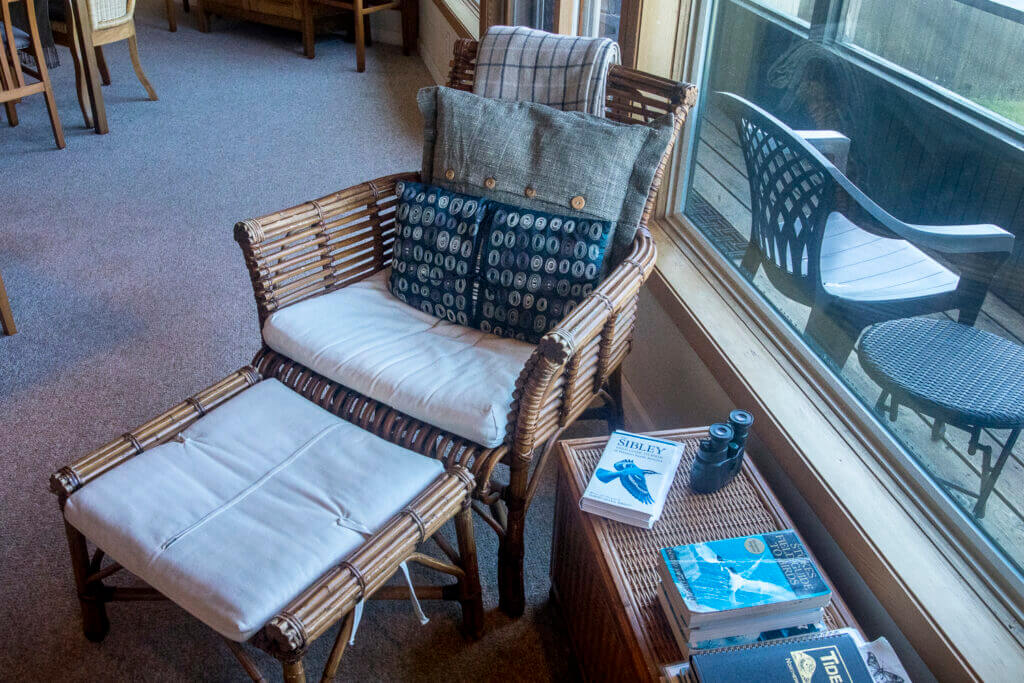 Chair and ottoman with books and binoculars